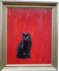 Ölmalerei, Schwarze katze, Hartfaser, Malerei