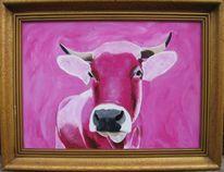 Von andreas schmelzer, Kuh in rosa, Rosa kuh, Malerei