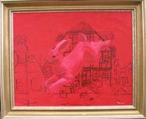Hase, Rot, Kunst aus eisen, Acrylmalerei