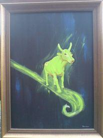 Hartfaser, Acrylmalerei, Kuh, Ölmalerei