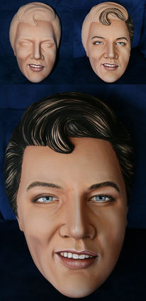 Holzmalerei, Elvis, Maske, Holz