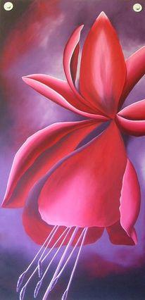 Lila, Fuchsien, Ölmalerei, Modern