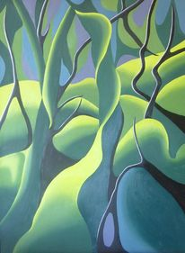 Grün, Wald, Ölmalerei, Modern