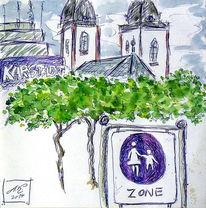 Schild, Kirche, Grün, Aquarellmalerei
