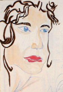 Frau, Weiblich, Gesicht, Skizze