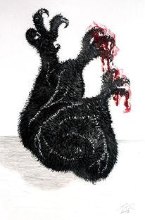 Herz, Blut, Schwarz, Kralle
