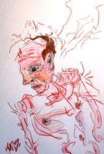 Rot, Mann, Gesicht, Portrait