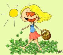 Kleeblatt, Glücklich, Gold, Liebe