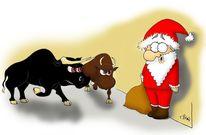 Weihnachtsmann, Stier, Rot, Illustrationen