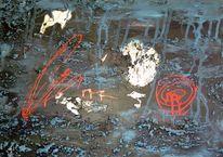 Rot, Schwamm, Acrylmalerei, Schwarz