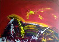 Schwamm, Acrylmalerei, Rot, Malerei