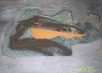 Acrylmalerei, Abstrakt, Marmormehl, Schwamm