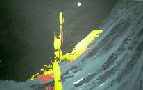 Abstrakt, Noir, Gelb, Spachteltechnik
