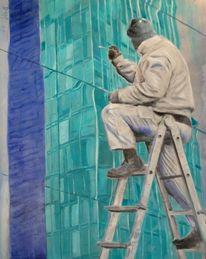 Leiter, Spiegelung, Hochhaus, Malerei