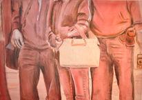 Monochrom, Tasche, Menschen, Rot