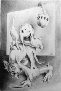 Hund, Surreal, Katze, Grotesk