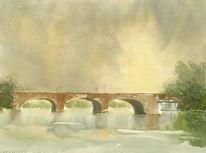 Lombardsbrücke, Alster, Aquarellmalerei, Aabeck