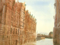 Stadt, Speicherstadt, Hafen, Aquarellmalerei