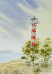 Wittenbergen, Aquarellmalerei, Leuchtturm, Malerei