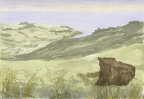 Landschaftsmalerei, Landschaft, Neuseeland, Aquarell