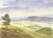 Landschaft, Neuseeland, Landschaftsmalerei, Aquarell