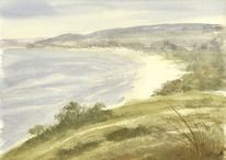 Neuseeland, Meeresstrand, Landschaftsmalerei, Aquarellmalerei