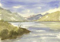 Berge, Landschaft, Seeufer, See