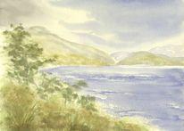 Landschaft, Seeufer, See, Berge