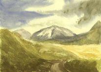 Neuseeland, Aquarellmalerei, Alpen, Berge