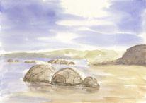 Insel, Meeresstrand, Landschaftsmalerei, Strand