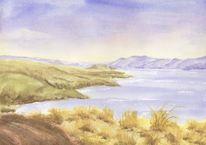 Neuseeland, Bucht, See, Aquarell
