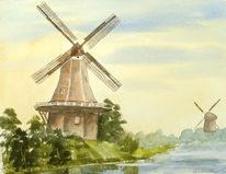 Mühle, Aquarellmalerei, Malerei, Landschaft