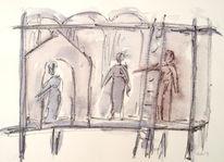 Theater, Zeichnung, Zeichnungen