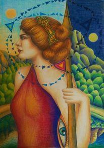 Frau, Mystik, Natur, Raum und zeit