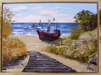Meer, Dünen, Fischerboot, Ostsee