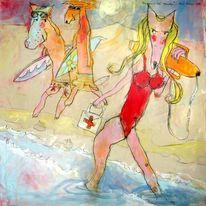 Expressionismus, Badeanzug, Sand, Streetart