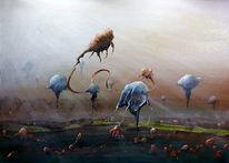 Krieg, Fantasie, Qualle, Acrylmalerei