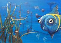 Glotzerfisch, Fische, Unterwasser, Malerei
