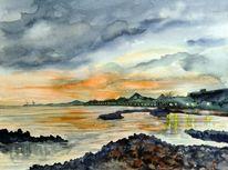Lanzarote, Aquarellmalerei, Küstenlandschaft, Landschaft