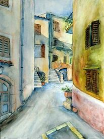 Kroatien, Aquarellmalerei, Haus, Gasse