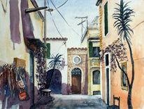 Gasse, Stadt, Aquarellmalerei, Haus