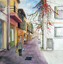 Rethimno, Haus, Stadt, Aquarellmalerei