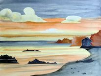Aquarellmalerei, Strand, Landschaft, Collage