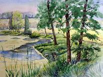 Aquarellmalerei, Fluss, Landschaft, Radweg
