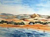 Aquarellmalerei, Maspalomas, Landschaft, Meer