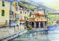 Landschaft, Dolceacqua, Häuser, Aquarellmalerei