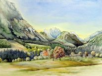 Tal, Aquarellmalerei, Berge, Landschaft