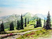 Berge, Österreich, Planay, Aquarell