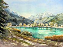 Bergsee, Slowenien, Aquarellmalerei, See