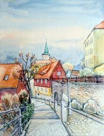 Aquarellmalerei, Stadtlandschaft, Landschaft, Stadtmauer